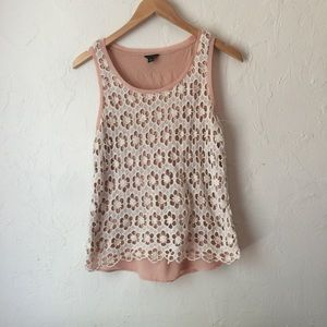 ANN TAYLOR pink with white floral lace tank size S